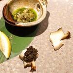 神楽坂 鉄板焼 中むら - 千葉県房州千倉の黒アワビ Caviar Caspearl Kaluga をのせて