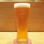 天麩羅 なか江 - 一番搾り 生ビール 中 700円(税込)。     2020.09.12