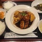 福盈門 - 若鶏唐揚げの黒胡椒風味ソースがけ定食 ¥800-