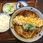 そば処 天寿庵 - 料理写真:冷やしかけ海老天ぷら_950円、ライス(小)_100円