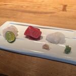 137002167 - 刺身:真鯛、本鮪、たこ                       #そばのコースランチ                       2020/09/20訪問