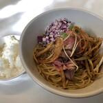 東京食堂 - 料理写真:まぜそば牛肉 小ライス付