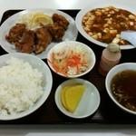 西安小牧店 - A定食(鶏のカラアゲ&マーボー豆腐)