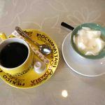 白龍 - 日替わり定食セットのデザートとコーヒー