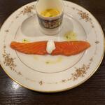 137090030 - キングサーモンと冷製かぼちゃスープ