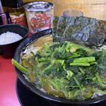 上越家 - 並盛チャーシュー麺(¥920)+ほうれん草と小松菜のミックス(¥150)+白ライス(¥150)
