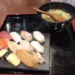 鮨・酒・肴 杉玉 - ランチ 寿司・鯛出汁塩らーめんセット\990外税