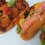 海の子パン - 料理写真:アジパン、ホタテパン、サーモンマリネ、エビパン