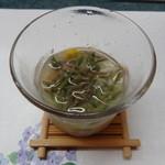 吉長 - 浅蜊・雲丹・蓴菜・オクラ・コーン・馬鈴薯の冷製