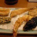 1372823 - 大正海老、穴子、野菜3種は、インゲン、茄子、レンコン