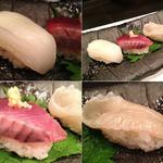 澄家 - 香川の剣先イカ、かつお、ヒラメの縁側。剣イカはレモン塩で…。