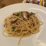 トラットリア コダマ - 肉厚椎茸ペペロンチーノ。