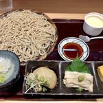 竹乃屋 - 数量限定そばランチ 税込¥1,200 角の立った二八の麺に優しい蕎麦つゆ そばがき、湯葉の刺身、玉子焼き、ブラマンジェ付き 食後にそば茶