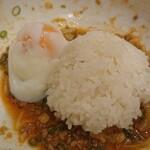 太閤うどん - ご飯と温玉を投入