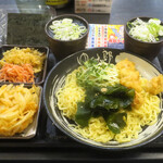 ゆで太郎 - 帆立天ざる中華560円、焼きのり100円、クーポンかき揚げ