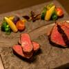 """肉割烹 喰心 - 料理写真:【黒毛和牛""""雌牛""""焼物盛合せ】"""
