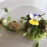 レ セゾン - 帆立貝柱と野菜を初夏の庭園にみたてて