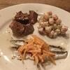エチェガライ - 料理写真:前菜盛合せ:豚ハツのコンフィ、ひよこ豆 ベーコン セロリのアイオリ、ボケロネス(イワシの酢漬け)キャロットラペ添え
