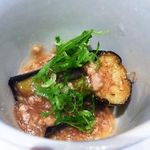 京都ぎをん 八咫 - 揚げ茄子鴨そぼろ餡・・・京料理らしい品ですね。お味は普通です。