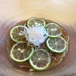 うちげの料理 八塩 - ミョウガ、スダチ、冷でいただきます。