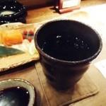 喜酒快膳 夢玄 - くろいさお湯割り。大将のふるさとの焼酎です