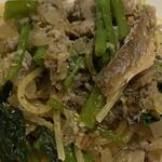 Raccolta - この鮎のパスタの美味しいこと。鮎の美味しいエキスがパスタによく絡んで塩加減も良い塩梅!