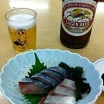 源蔵 - 瓶ビール(大)、シメサバ