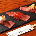 海鮮肉寿司3貫盛(うにく×にくら×かにく)