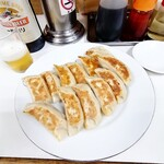 萬里 - 焼餃子374円×2 一番搾り大瓶660円  〆て1408円(税込)→1400円(端数丸め)