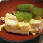 銀釜 - 先付けの高野豆腐の卵とじと蕗の煮物