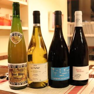 お料理と合わせたい自然派・ビオワインを<20種類>ほど常備。