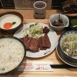 牛たん炭焼き 利久 - 牛たん定食(3枚)+とろろ(玉子入り) ¥2002