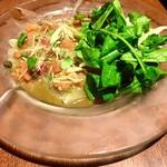 エキ ポンテベッキオ ア オオサカ - 料理写真:高知産カンパチのカルパッチョ オレンジと酢橘のサルサみょうが添え¥900