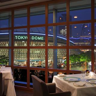 東京ドームシティーの夜景を一望できるフレンチディナー