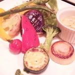旬采焼五富 - 焼き野菜のバーニャカウダ