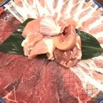 hinabemita - お肉セット(豚バラ、牛モモ、鶏モモ)。