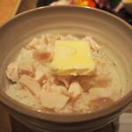 銀座 篝 - 鶏チャーシューバターごはんトリュフ醤油かけ(醤油をかける前)