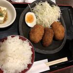 笑旨からあげ富や xx - 鈴友が大好きな コロッケ定食(並)580円  もめん豆腐も旨い◎