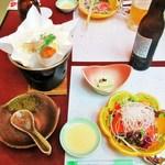 13762672 - 宴会 鍋・豆腐・サーモンサラダ