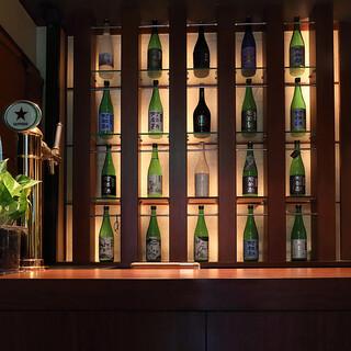 季節限定のものも含め、阿部勘酒造店の酒をフルラインナップ
