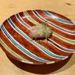 Nishimura Takahito la Cuisine creativite - 玄海の石垣鯛  焼きなすの和からしのマリネを巻いて