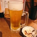 串揚げ処 味串 - 生ビール お通し