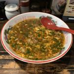 製麺処 蔵木 - 牛ホルモン餡かけ麺(大盛り)