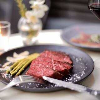 グラスフェッドビーフのステーキ