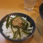 北海道ラーメン はる - 山わさび飯です。こちらもビジュアルはいまいちですがわさびはまあまあ効いていました。