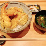 食肴旬菜 富一 - 天丼 味噌汁 香物