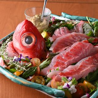 銚子港より直送!朝獲れ金目鯛を使ったカルパッチョは渾身の逸品