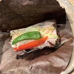 銀波 - 5,500円コースの豚肉のほうば焼き 香ばしく柔らかくて美味しかった。