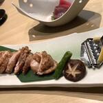 銀波 - 山梨県産甲州信玄鶏の黒胡椒焼き 1,380円はコース外