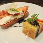 Kuremonthinubisu - 【アミューズ】初夏野菜のクレープタパス、リコッタチーズとサーモンのタルティーヌ